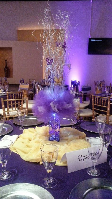 Nieces Quinceanera Small Centerpiece Using Purple Tulle