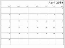 April 2028 Printable Blank Calendar
