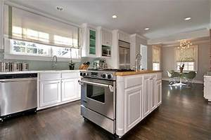 kitchen island oven transitional kitchen the semi With best brand of paint for kitchen cabinets with full wall art wallpaper