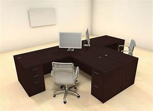 Two, Persons, Modern, Executive, Office, Workstation, Desk, Set, Ch