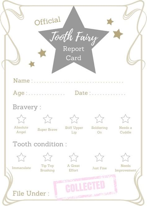 printable tooth fairy report card toothfairy ideas
