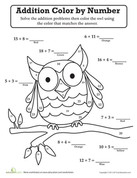 color by number addition worksheets owl color by number owl moon school theme free math
