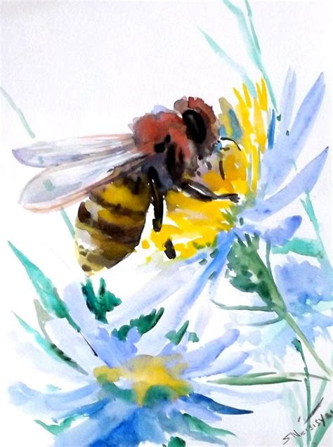 bee original watercolor painting 12 9 in honey maker bee