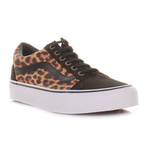 womens vans skool leopard black white shoes