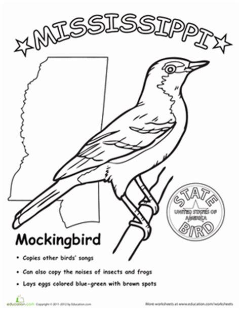 mississippi state bird worksheet education