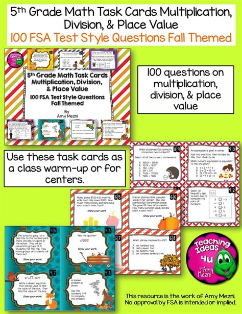 5th Grade 100 Math Task Cards Fsa Style Questions Fall Themed  Best Florida Standards And