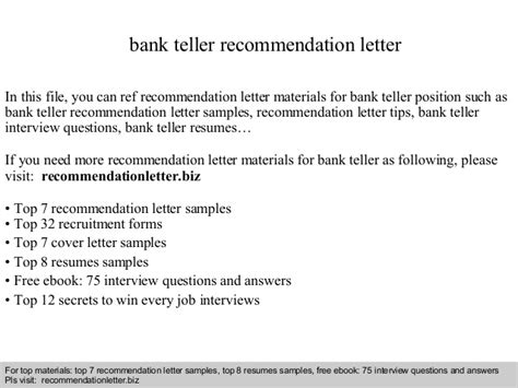 Questions For Teller Position In A Bank by Bank Teller Recommendation Letter
