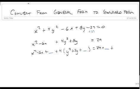Convert From General Form To Standard Form Of An Ellipse Youtube