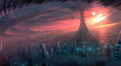 Alien Fiction Science Sci Fi Cities Futuristic