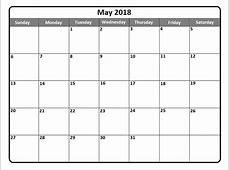 May 2018 Calendar May 2018 Printable Calendar – Pata Sauti
