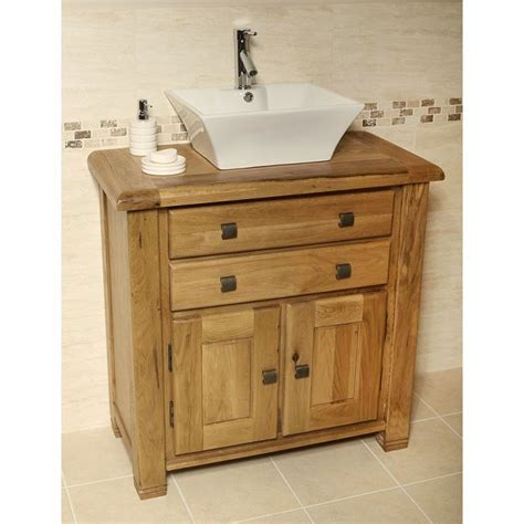 Ohio Rustic Oak Bathroom Cabinet Vanity Unit   Best Price