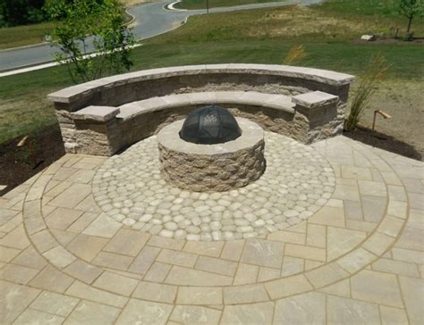 patio space with firepit seating wall steps landscaping low voltage lighting contemporary
