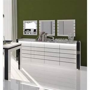 Buffet lina blanc et noir avec led 3 miroirs achat for Meuble salle À manger avec buffet bas salle À manger design