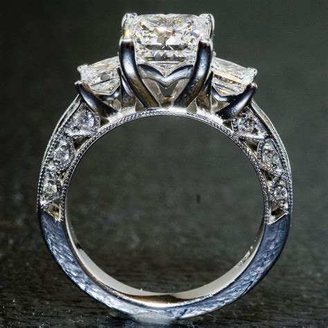 hand crafted custom tacori ring  stone princess cut