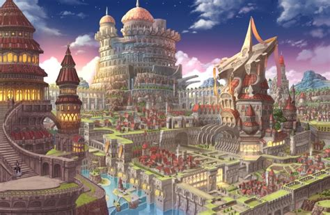 wallpaper anime fantasy city castle village waterfall