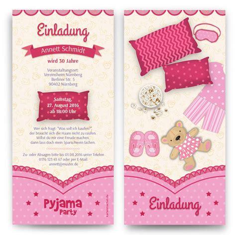 pyjama party geburtstagseinladungen mit eigenem text