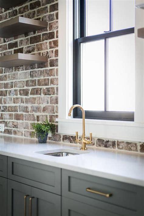 white painted brick kitchen backsplash transitional
