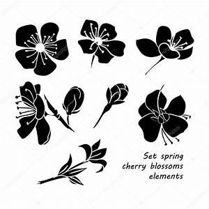 Dessin Fleur De Cerisier Japonais Noir Et Blanc : ensemble de fleurs de cerisiers en fleurs de printemps ~ Melissatoandfro.com Idées de Décoration