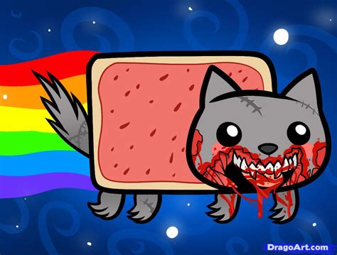 How To Draw Zombie Nyan Cat, Zombie Nyan Cat, Step By Step
