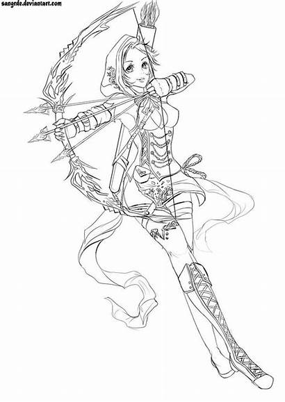 Archer Female Coloring Sketch Pages Coloriage Drawings