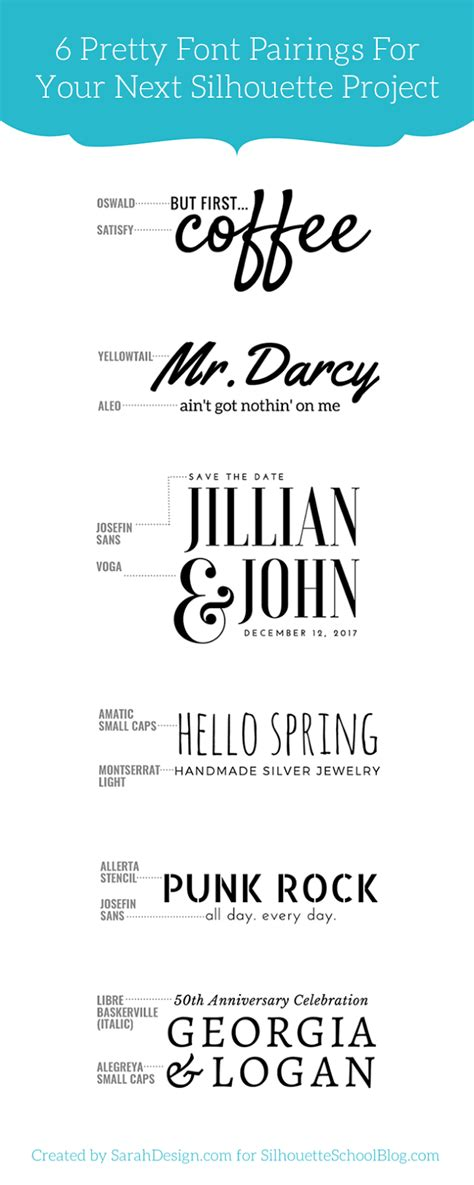 1 tip for perfectly pairing fonts for your silhouette projects and 6 perfect matches