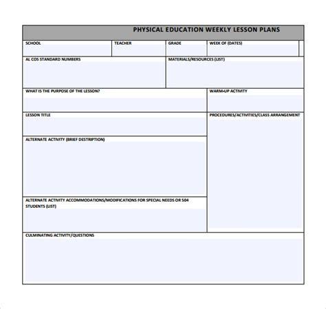 pe lesson plan template 15 sle physical education lesson plans sle templates