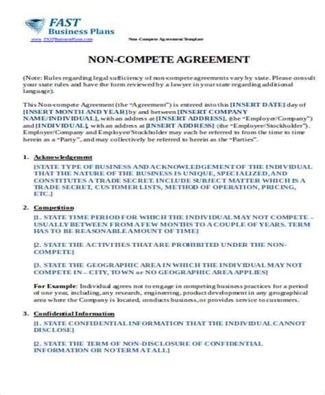 Business Templates Noncompete Agreement by 10 Sle Non Compete Agreements Sle Templates