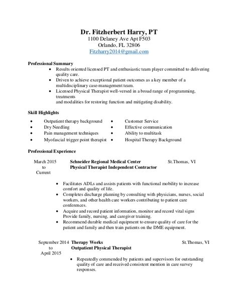 Physical Therapy Resume Sle by Physical Therapy Resume