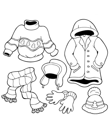 Coloring Clothes by Free Printable Winter Coloring Pages For