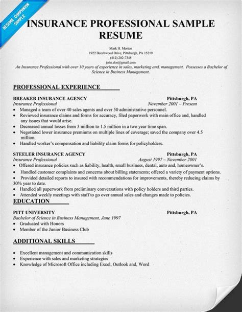 insurance professional resume sle insurance