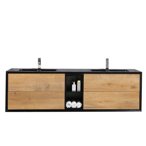 wall mounted light kitchen sink eviva vienna 75 in oak black wall mount bathroom vanity 9592