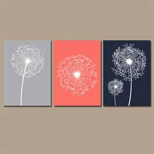 dandelion wall art coral navy gray flower from trm design