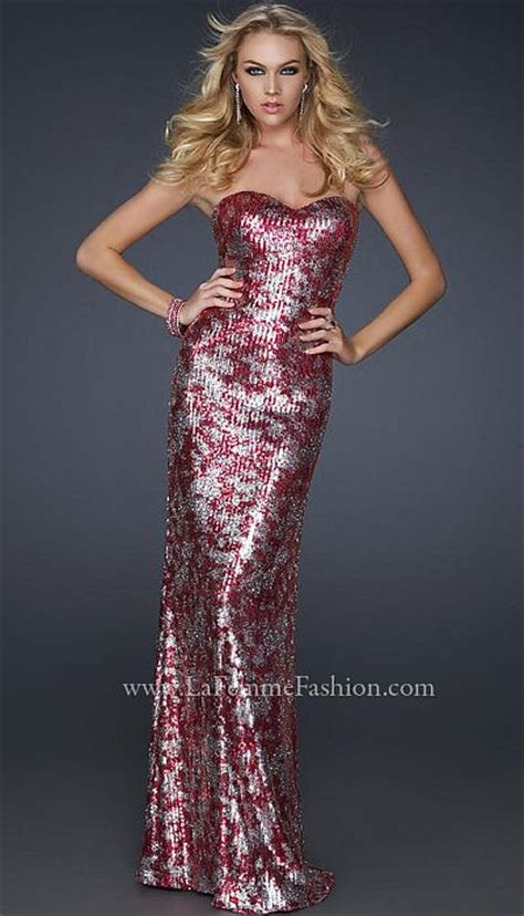 la femme sexy form fitting  tone sequin prom dress