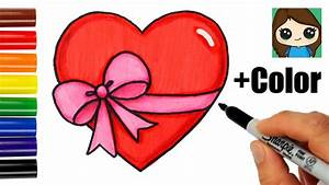 How to Draw a Heart with a Bow Ribbon Emoji Easy - YouTube