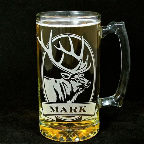 personalized grizzly bear beer mug engraved glass present