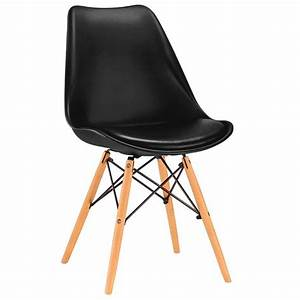 Sedia di design originale nera in metallo legno e plastica con cuscino ecopelle