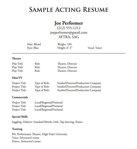 Actor Sle Resume by Performer Resume Template 46 Images Exles Of Resumes