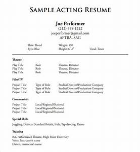 20 useful sample acting resume templates to download With how to write a theatre resume