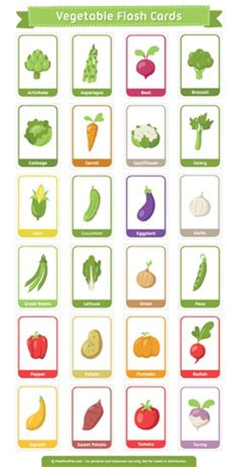 kids pages vegetables   printable flashcards