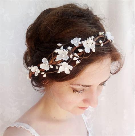bridal hair accessories, wedding flower headpiece, white
