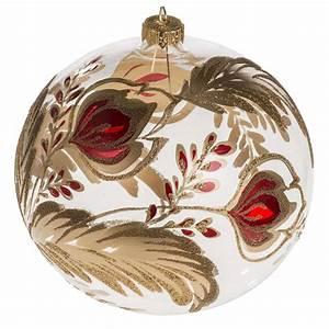 Boule Noel Transparente : boule de noel verre transparente fleur rouge 15 cm vente en ligne sur holyart ~ Melissatoandfro.com Idées de Décoration