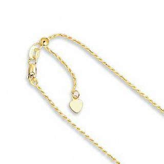 adjustable mm rope chain necklace   gold