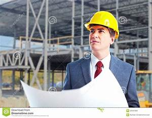 Engineer Constructor With A Project. Stock Image - Image ...