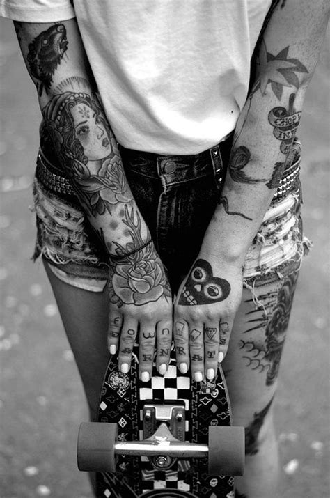 Black and white photo of tattooed girl, sleeve tattoos #ink #inked | ★ tattoos ☆ | Tattoos, Hand