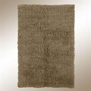 Khaki Brown Flokati Wool Shag Area Rugs
