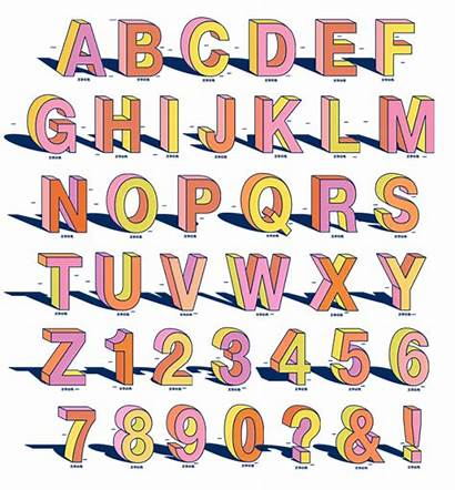Perspective Font Alphabet Creative Colorful Fonts Viewpoint