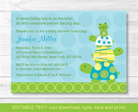 Free Printable Baby Shower Invitations For - stacked turtle frog printable baby shower invitation