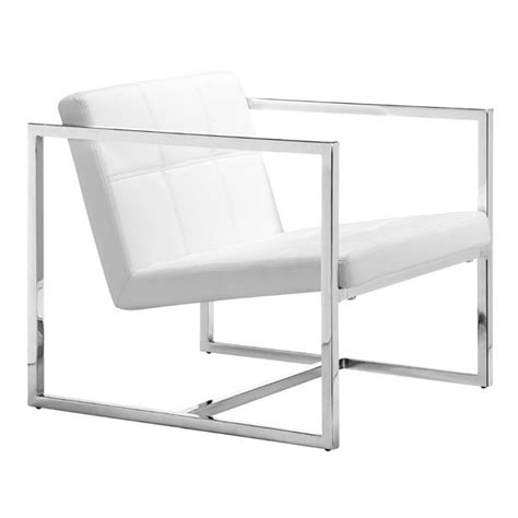 der rohe sofa white leatherette accent chair with square chrome