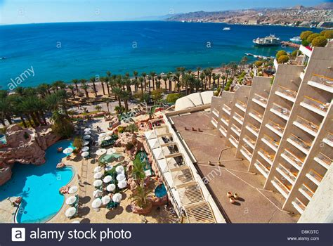 View From Room At The Dan Eilat Hotel, Eilat, Israel Stock