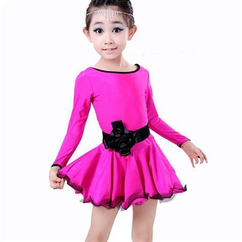 2016 Children Latin Dance Dresses Rose/Blue/Black Long Sleeve Girls Dance Costumes Cha Cha/Rumba ...